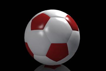 Pallone calcio rosso con sfondo nero