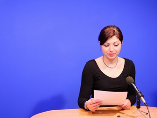 television presenter in studio