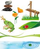 scenario con fontana in bamboo - oggetti separati poster