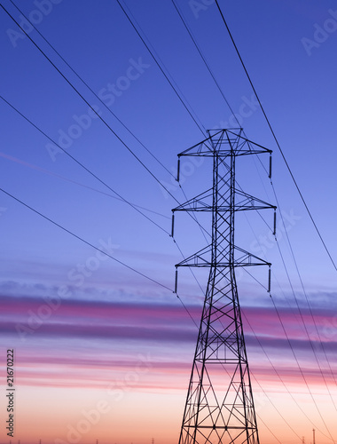 Electric power transmission station lines at Sunset