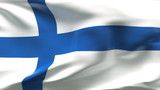 Creased FinLAND flag in wind with seams and wrinkle poster