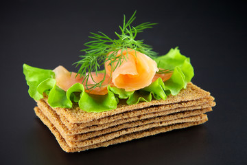 Salmon sandwich on a black background