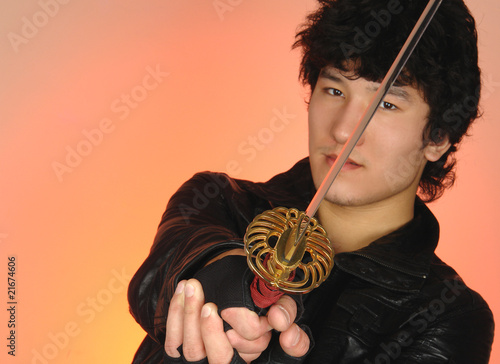 asian man with sword