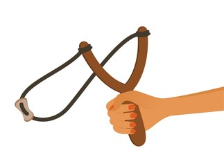 cartoon child's hand with a slingshot