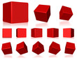 vector red 3d cubes
