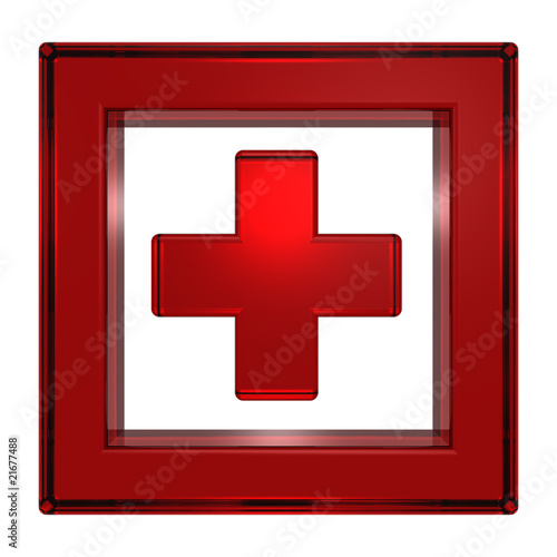 Ruby cross in the square isolated on white