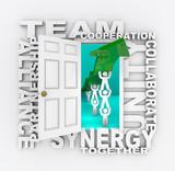Teamwork - Open Door to Collaborative Success poster