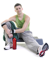 sportsman relaxing and drinking water