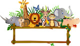 Animal cartoon and blank sign - 21679455