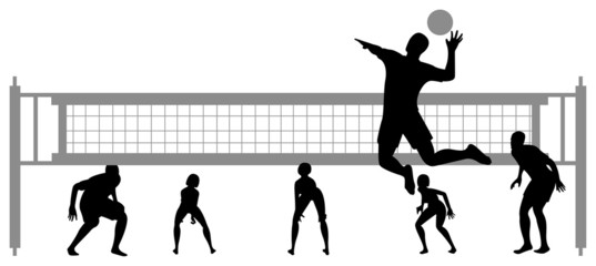 volleyball game silhouette vector 2