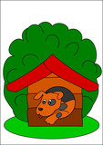 Dog and kennel poster