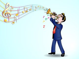 trumpeter over music background