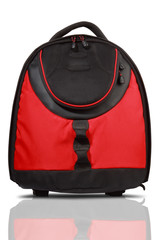 Red and black colored backpack