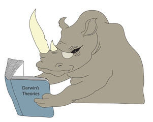 Rhino reading a book on Darwin's Theories