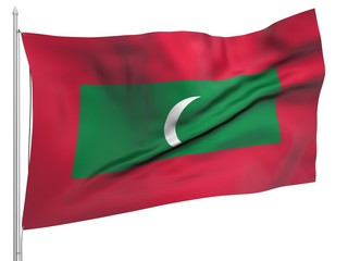 Flying Flag of Maldives - All Countries