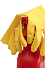 Rubber Gloves on top of a red sprayer bottle