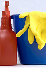 Two rubber gloves in a blue and red spray bottle