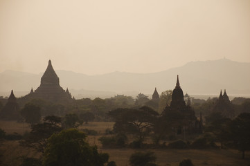 Valley of thousands buddhist pagodas in Bagan, Burma.