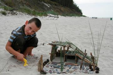 Beach fun - building sandcastle