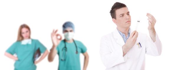 Male and female hospital medical team