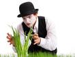 crazy  gardener mime. Studio shot