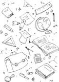 illustraition of school subjects, hand drawn design set. poster