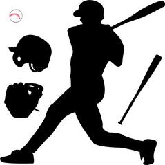 baseball silhouette - vector