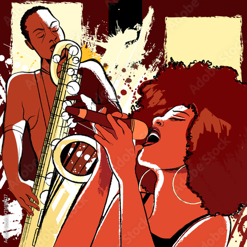 jazz singer and saxophonist on grunge background