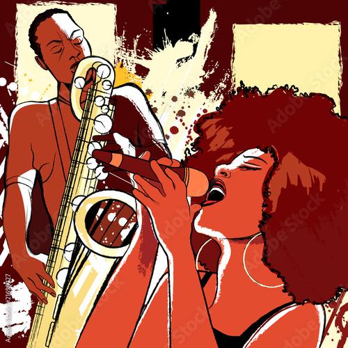 wokalista jazzowy i saksofonista na tle grunge