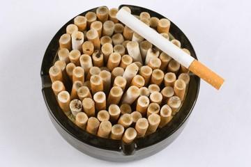 group concept creative cigarette in ashtray