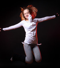 young and beautiful girl in jump