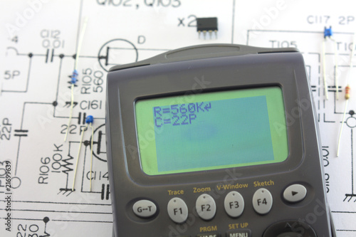 electronic circuit with components and calculator