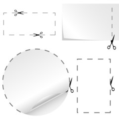 Vector set of cutoff paper coupons with scissors sign.