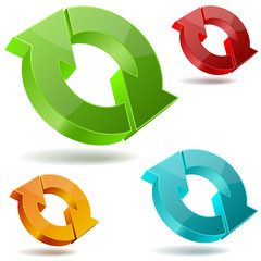 Vector icons of glossy circulating 3D arrows.
