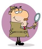 Caucasian Cartoon Investigator Man poster