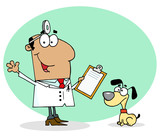 Hispanic Cartoon Canine Veterinarian Man poster