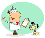 Caucasian Cartoon Canine Veterinarian Man poster