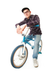 The young guy with a bicycle isolated on a white
