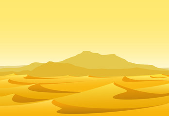 desert with yellow sand and mountains