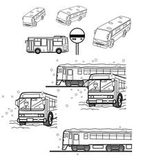 バス(白黒)挿絵