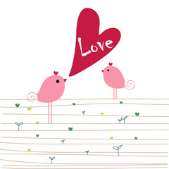 Love birds - valentine's or wedding. vector