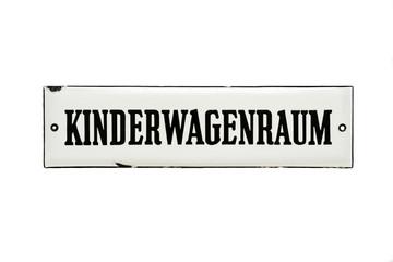 "Altes Emailschild ""KINDERWAGENRAUM"" um 1950"