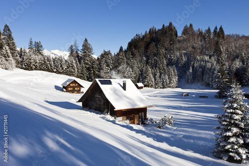 Fototapeten,ferienhäuser,berg,idylle,schnee