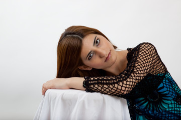 Pretty woman resting her head
