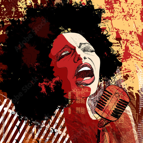 jazz singer on grunge background - 21717214