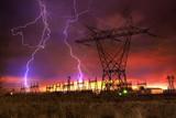 Power Distribution Station with Lightning Strike. - 21717426