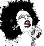 jazz singer on white background