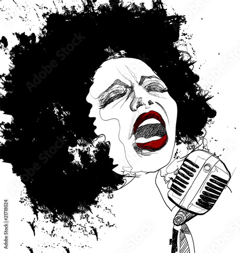 wokalistka jazzowa na białym tle