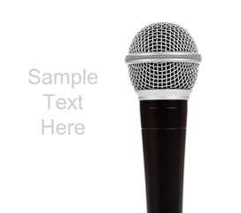 Black and silver microphone on white with copy space