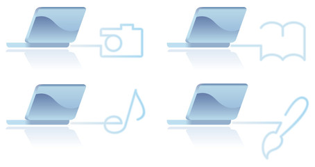 The image of laptop and multimedia symbols